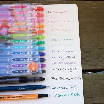 Photo: Writing sample of Pilot Juice pens and some of my other favorites