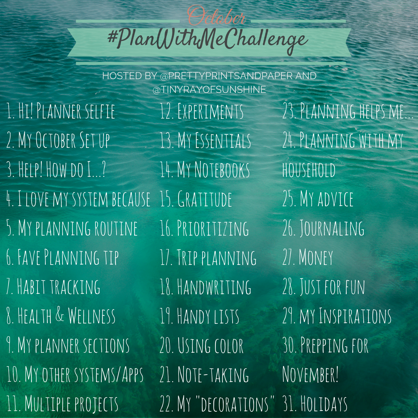 October Plan With Me Challenge Tiny Ray Of Sunshine