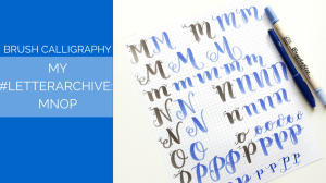 Today for my brush calligraphy #LetterArchive, I do a step by step tutorial on how I write MNOP. // www.prettyprintsandpaper.com