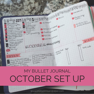Join me as I set up my monthly and weekly layouts in my bullet journal for October // www.prettyprintsandpaper.com