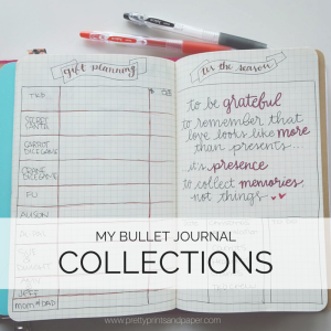 What are the lists you keep in your bullet journal? Sneak peek into some of my lists // www.prettyprintsandpaper.com
