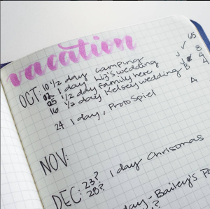 Making sure I can get to all of my commitments next year - in my Bullet Journal I track my vacation days with my accrual to make sure I have some wiggle room. @prettyprintsandpaper