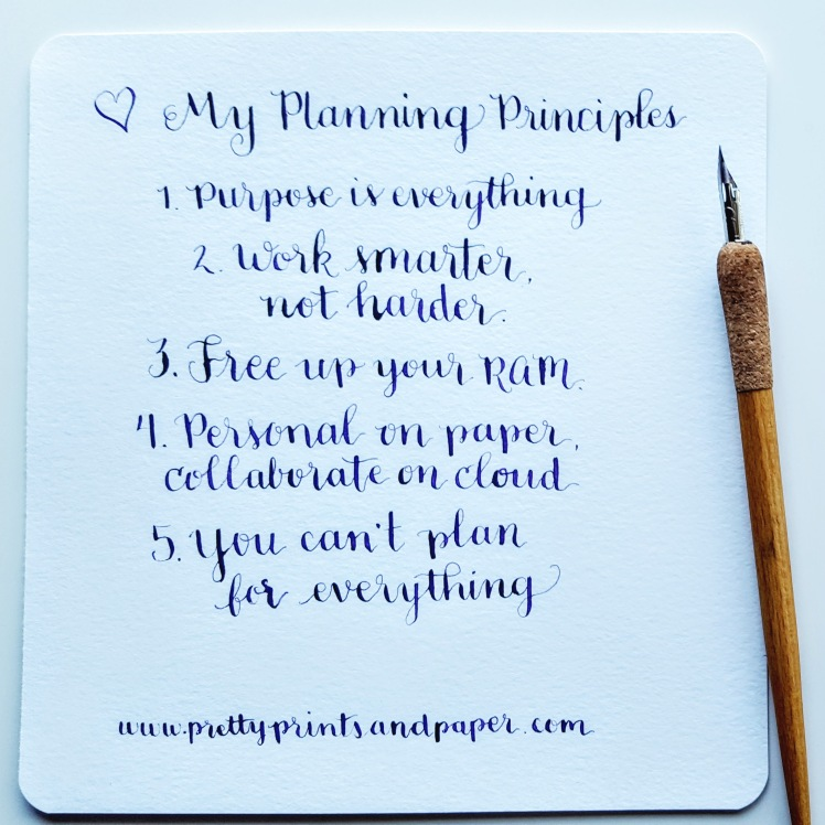 My planning principles: 1) The purpose is the point. 2) Work smarter, not harder. 3) Free up your RAM. 4) Personal on paper, collaborate on the cloud. 5) You can't plan for everything. // www.prettyprintsandpaper.com