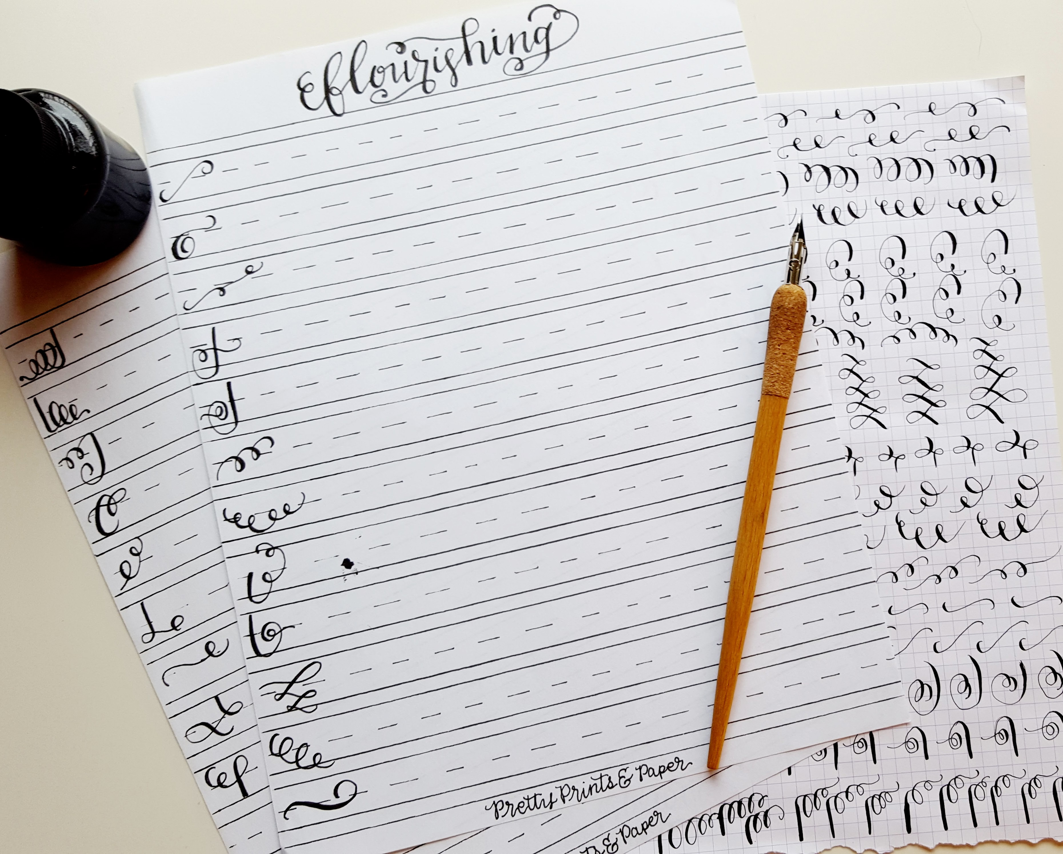 photograph about Free Calligraphy Worksheets Printable identified as How toward: Calligraphy Flourishes + Totally free Printable Attractive