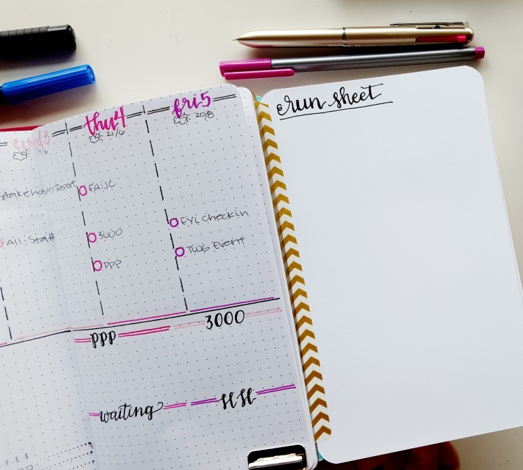 """Inspired by Dee @DecadeThirty, I'm trying a """"Run Sheet"""" for mindsweeps and braindumps of tasks throughout the month in my bullet journal // www.prettyprintsandpaper.com"""