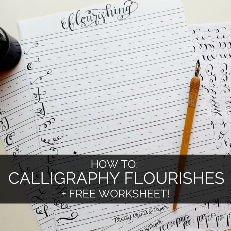 How to Calligraphy Flourishes Free Printable Pretty Prints – Free Calligraphy Worksheets