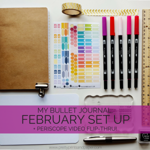 Go step by step through how I set up my bullet journal for February, PLUS the Periscope flip-through of my whole system, including trackers, monthly overview, collections, and weekly layout // www.prettyprintsandpaper.com