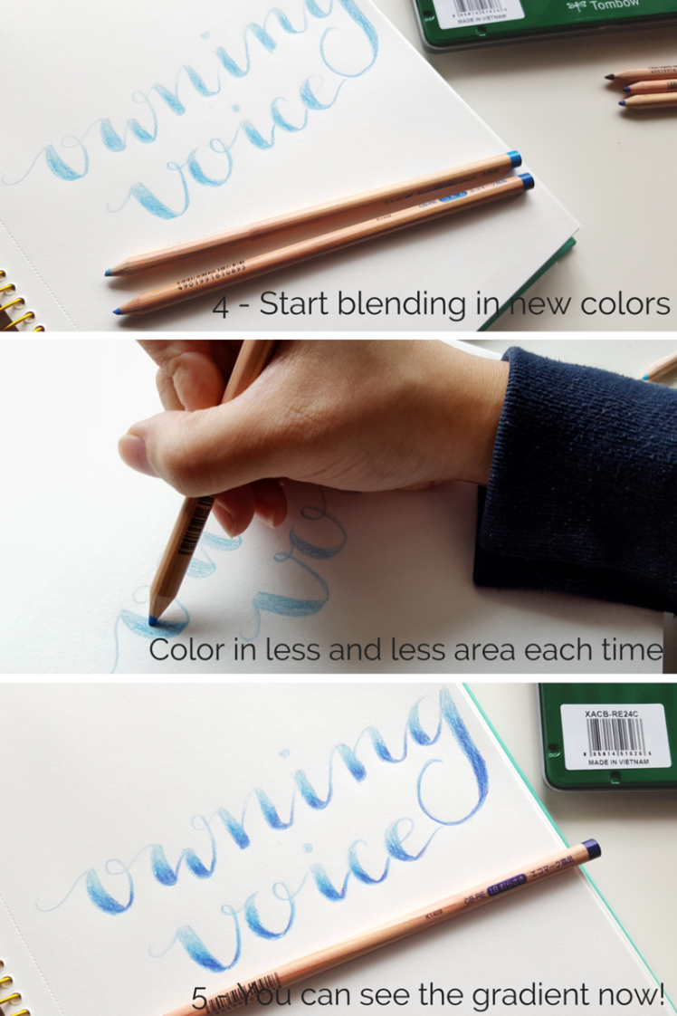 Blending colored pencils gives lettering a beautiful gradient look // www.prettyprintsandpaper.com
