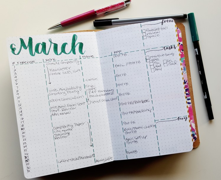 A derivative of Kara's monthly, this accounts for tracking a few things as a spin off the traditional bullet journal monthly - Expenses, Work project tasks, home project tasks, my blog, and overall errands and purchases. // www.prettyprintsandpaper.com