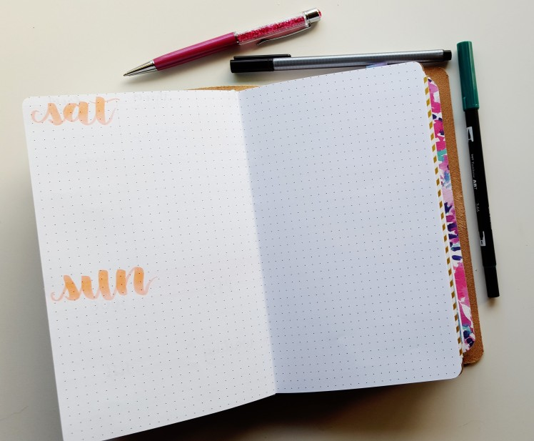 After my 5-day week comes my weekends - much more room for doing all the things! The opposite side is used for reflection on the week - what went well? Did I show up the way I wanted to? What's working in my bullet journal? // www.prettyprintsandpaper.com