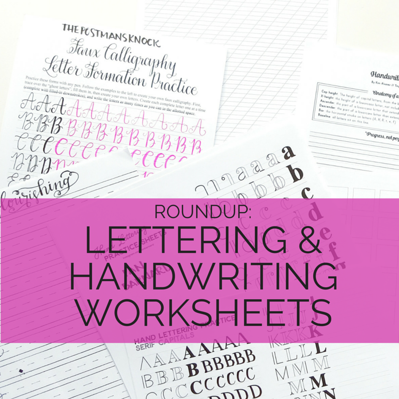 Lettering and Handwriting Worksheets Roundup Pretty Prints Paper – Free Calligraphy Worksheets