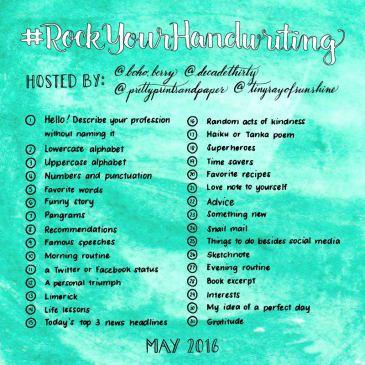 Join @prettyprintsandpaper, @decadethirty, @tinyrayofsunshine, and @boho.berry to work on your handwriting this May! // www.prettyprintsandpaper.com