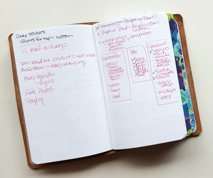 Including a Brain Dump insert in my traveler's notebook helps wrangle my rapid and random thoughts before organizing them in my bullet journal
