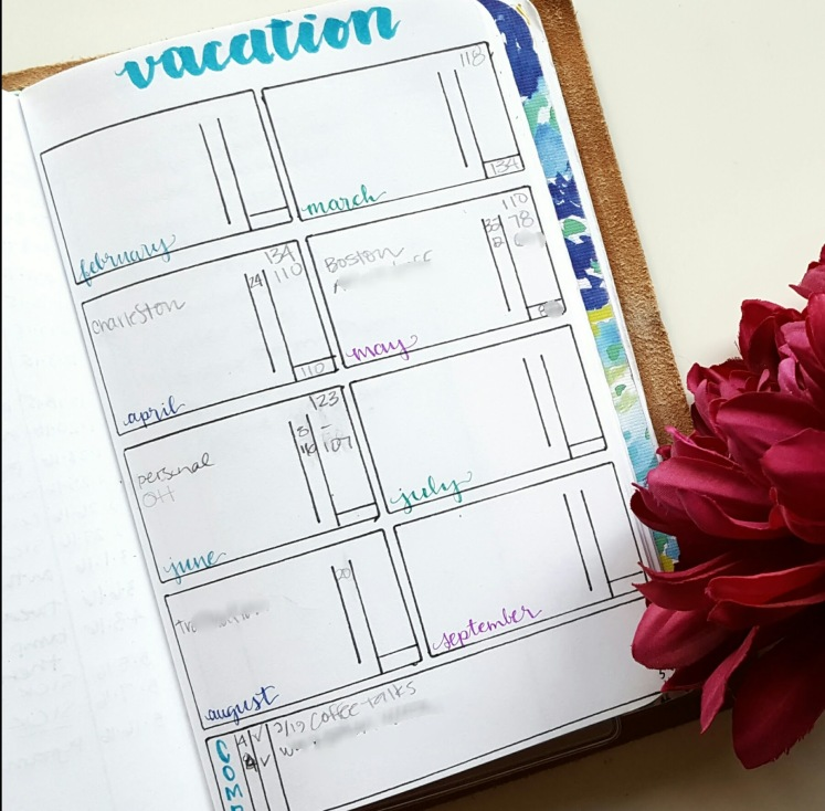 layout idea vacation day tracking pretty prints paper