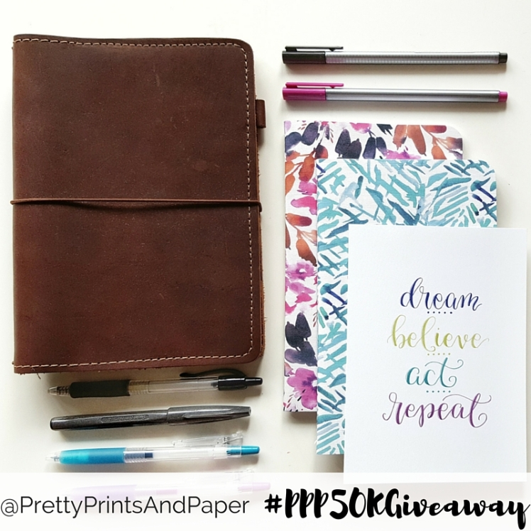 A huge giveaway to celebrate one year of bullet journal blogging! www.prettyprintsandpaper.com
