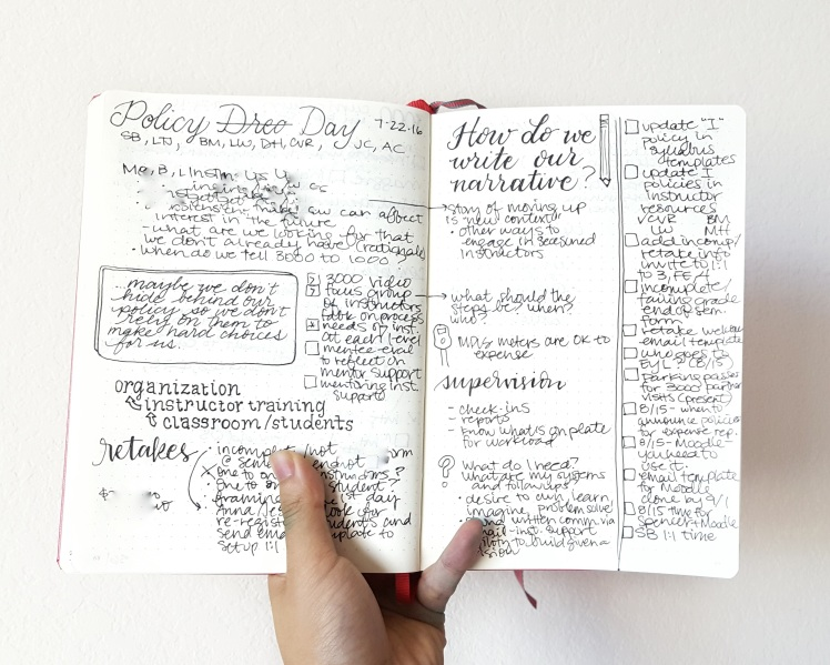 Bullet journal for work: take notes and separate out tasks for better visuals