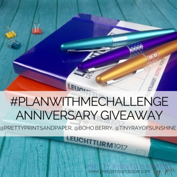 To celebrate a year of the #PlanWithMeChallenge, Jessica @prettyprintsandpaper, Kim @tinyrayofsunshine, and Kara @boho.berry are giving away sets of Leuchtturm's and Pilot Metropolitans!