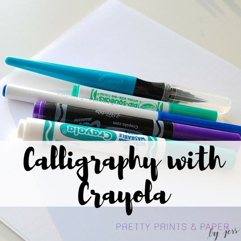 calligraphy with crayola pretty prints paper
