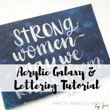 Learn how to create a galaxy painting with liquid acrylic and add your handlettered touch on top.