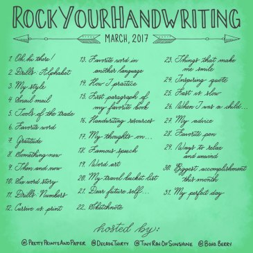 Join @prettyprintsandpaper, @tinyrayofsunshine, @decadethirty and @boho.berry in another RockYourHandwriting Challenge this month!