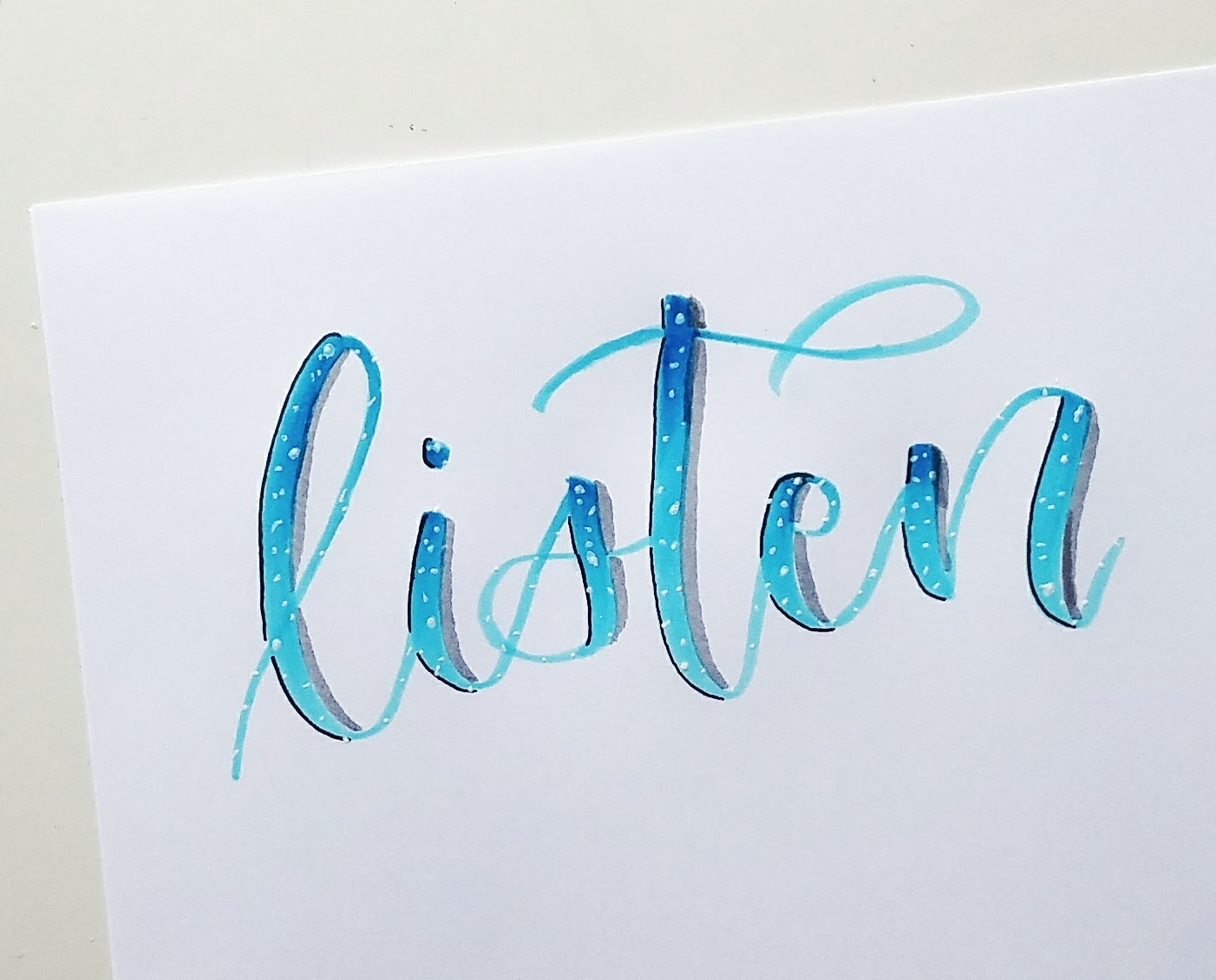 Brush calligraphy gradients and blending u pretty prints paper