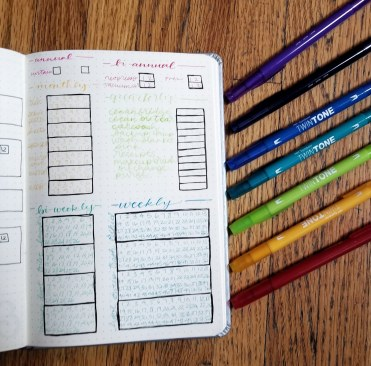 January bullet journal set up - a basic annual cleaning spread