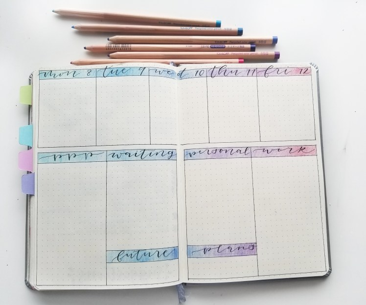January bullet journal set up - adding some color with Tombow colored pencils