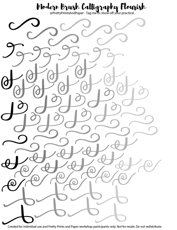 Modern Brush Calligraphy Flourish Worksheet