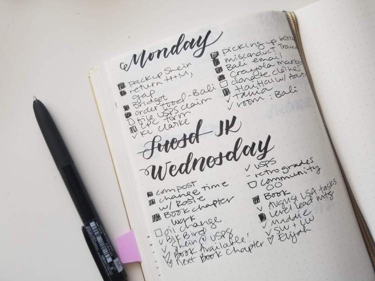 bullet journal layout mistake